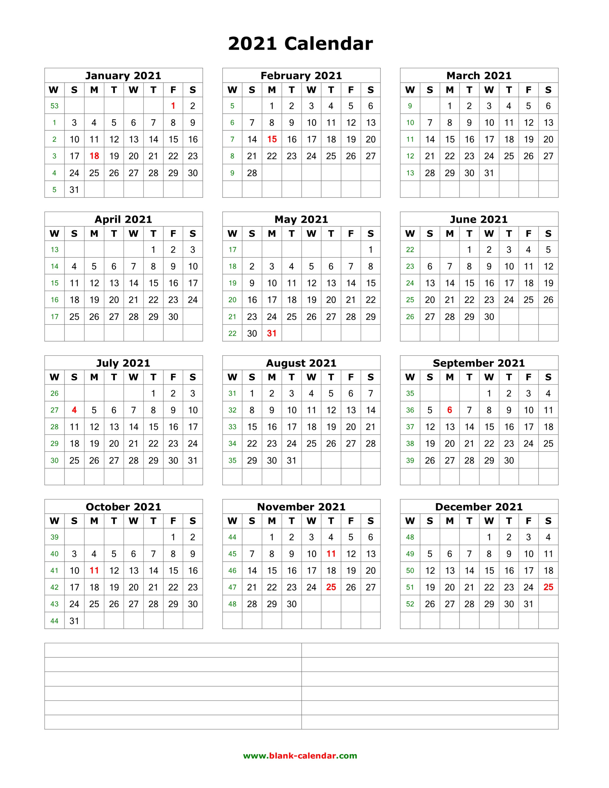 Download Blank Calendar 2021 With Space For Notes (12 Months