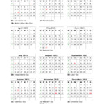Download Blank Calendar 2021 With Us Holidays (12 Months On
