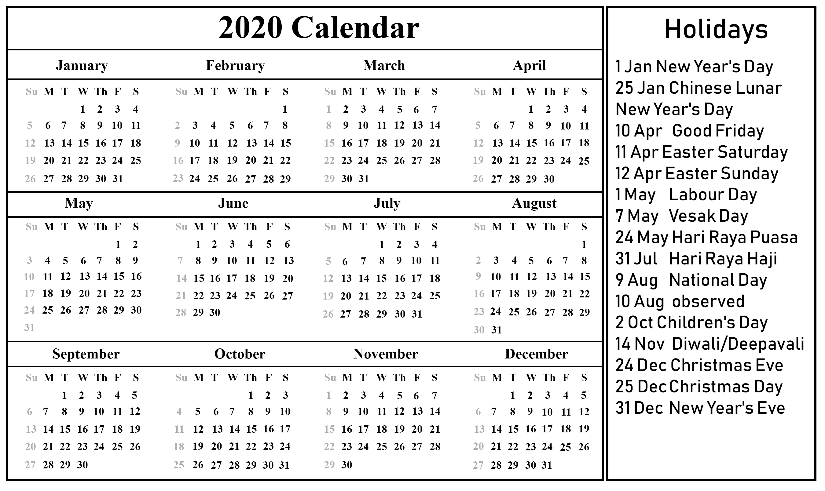 Download Free Singapore Calendar 2020 In Pdf, Excel & Word