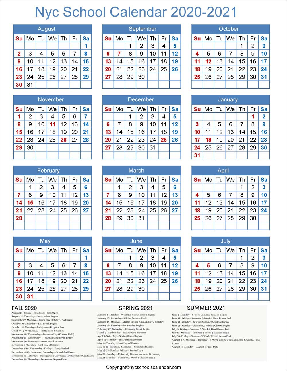 ❤️nyc School Holidays Calendar 2020-2021 ✅