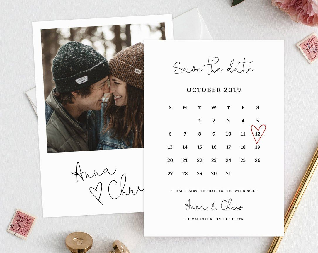 Editable Save The Date Calendar, Save The Date Template