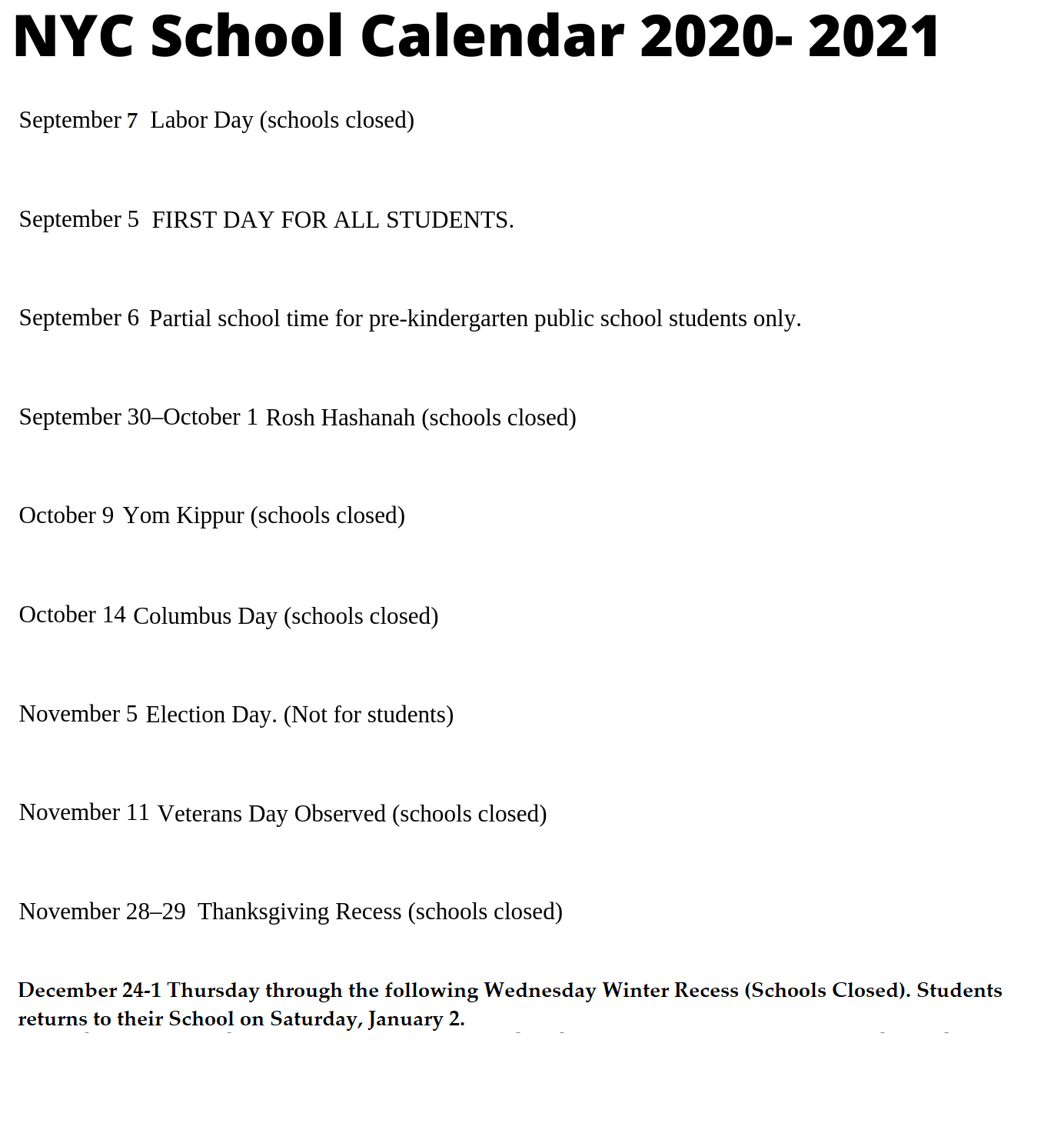 🥰nyc School Holidays Calendar 2020-2021🥰