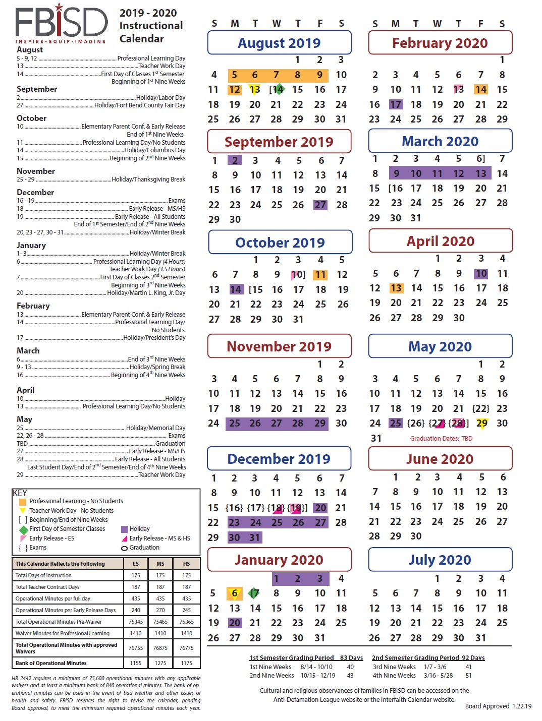 Fbisd School Calendar - Parent Info
