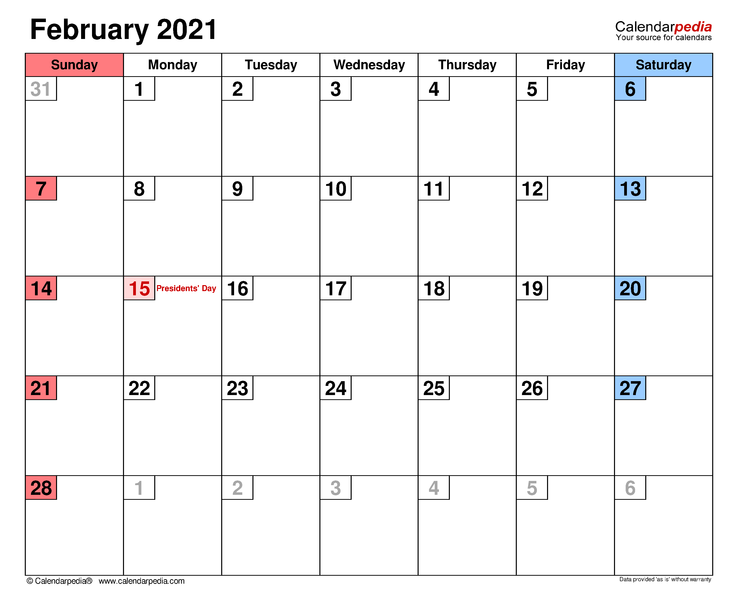February 2021 Calendar | Templates For Word, Excel And Pdf