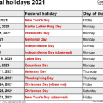 Federal Holidays 2021 To Download And Print