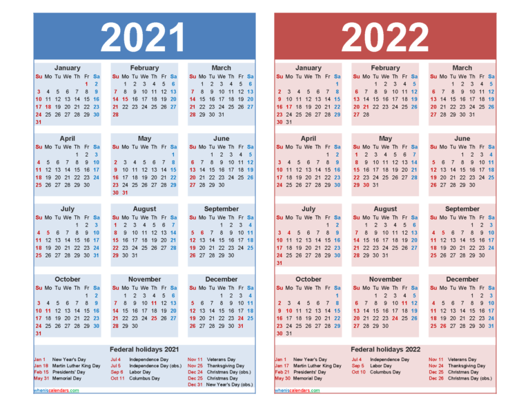 Free 2021 And 2022 Calendar Printable With Holidays – Free