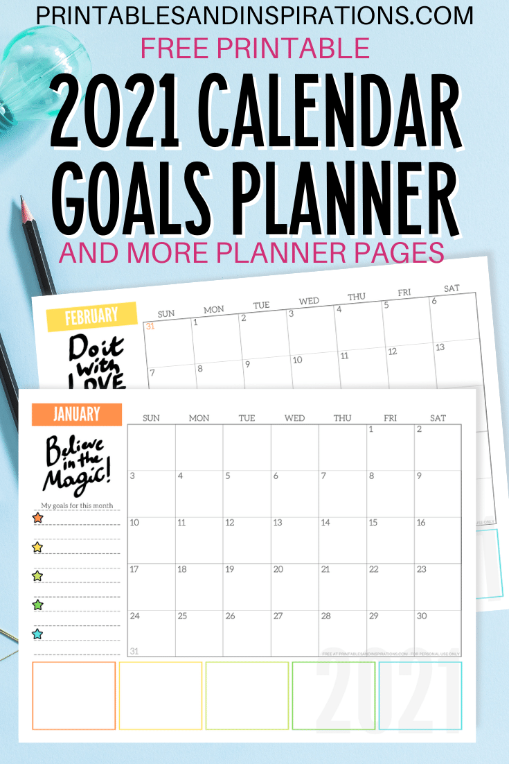 Free 2021 Monthly Goals Calendar Printable! - Printables And