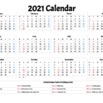 Free 2021 Printable Calendar With Holidays – Free Printable 2020