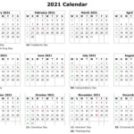 Free 2021 Printable Monthly Calendar With Holidays Word Pdf