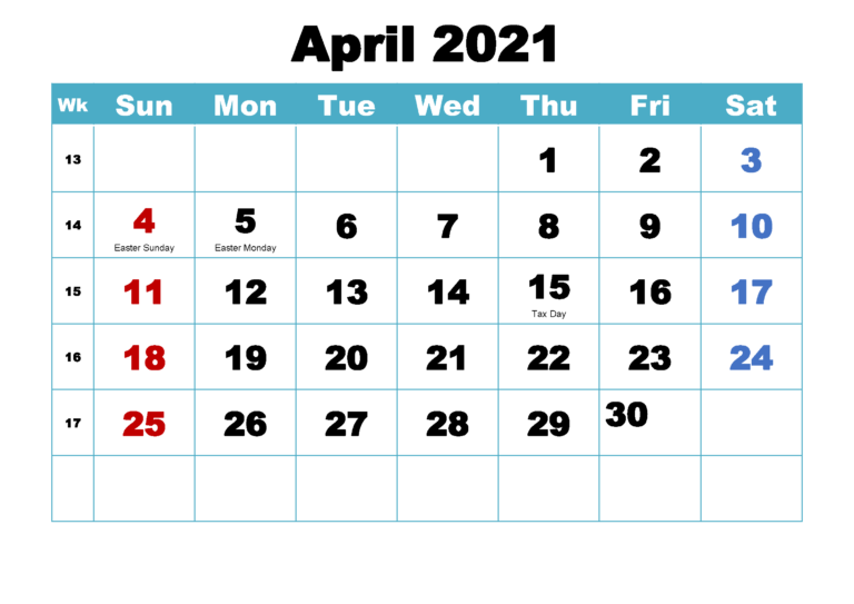 Free April 2021 Printable Calendar Template [Pdf] | Calendar