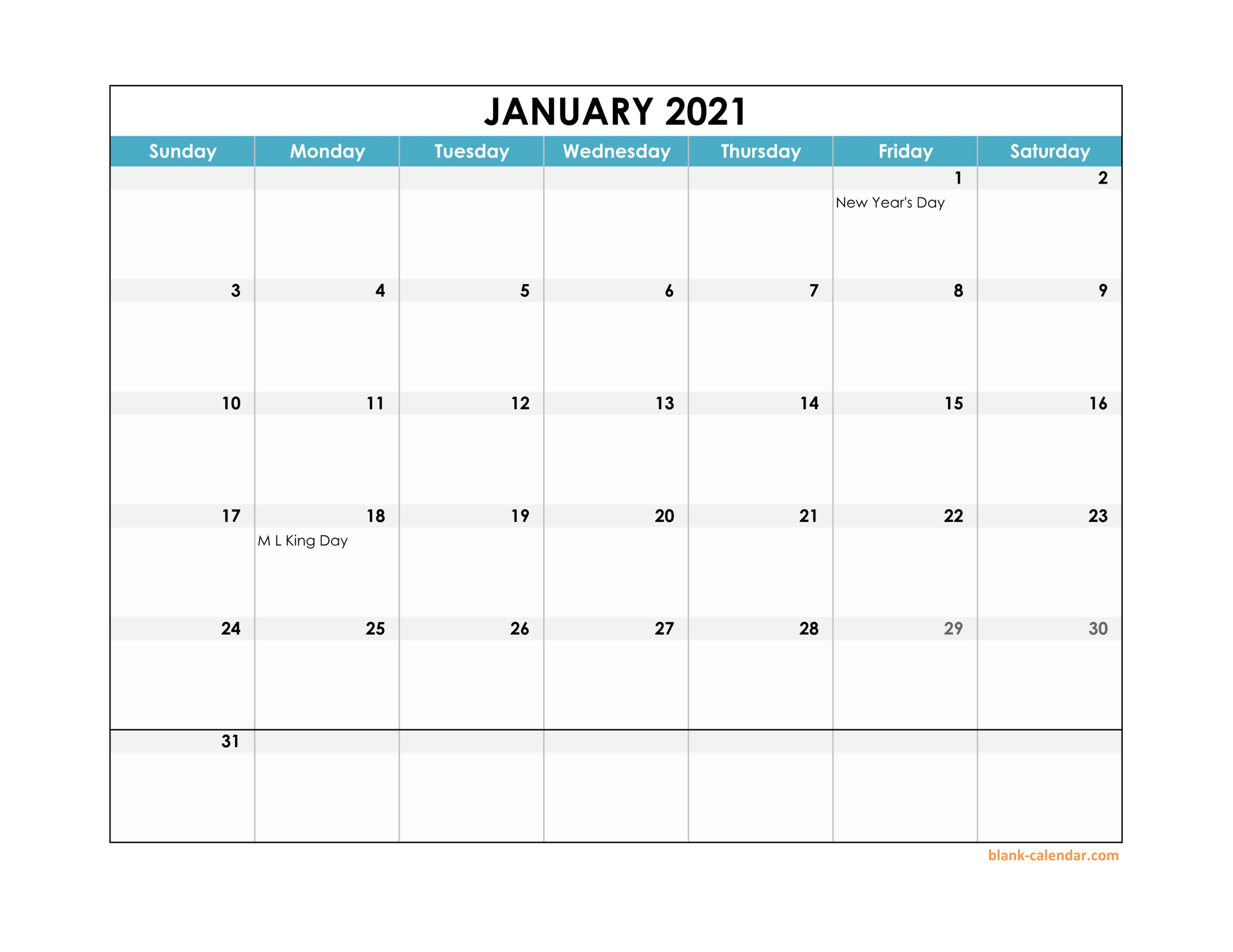 Free Download 2021 Excel Calendar Large Boxes In The Grid