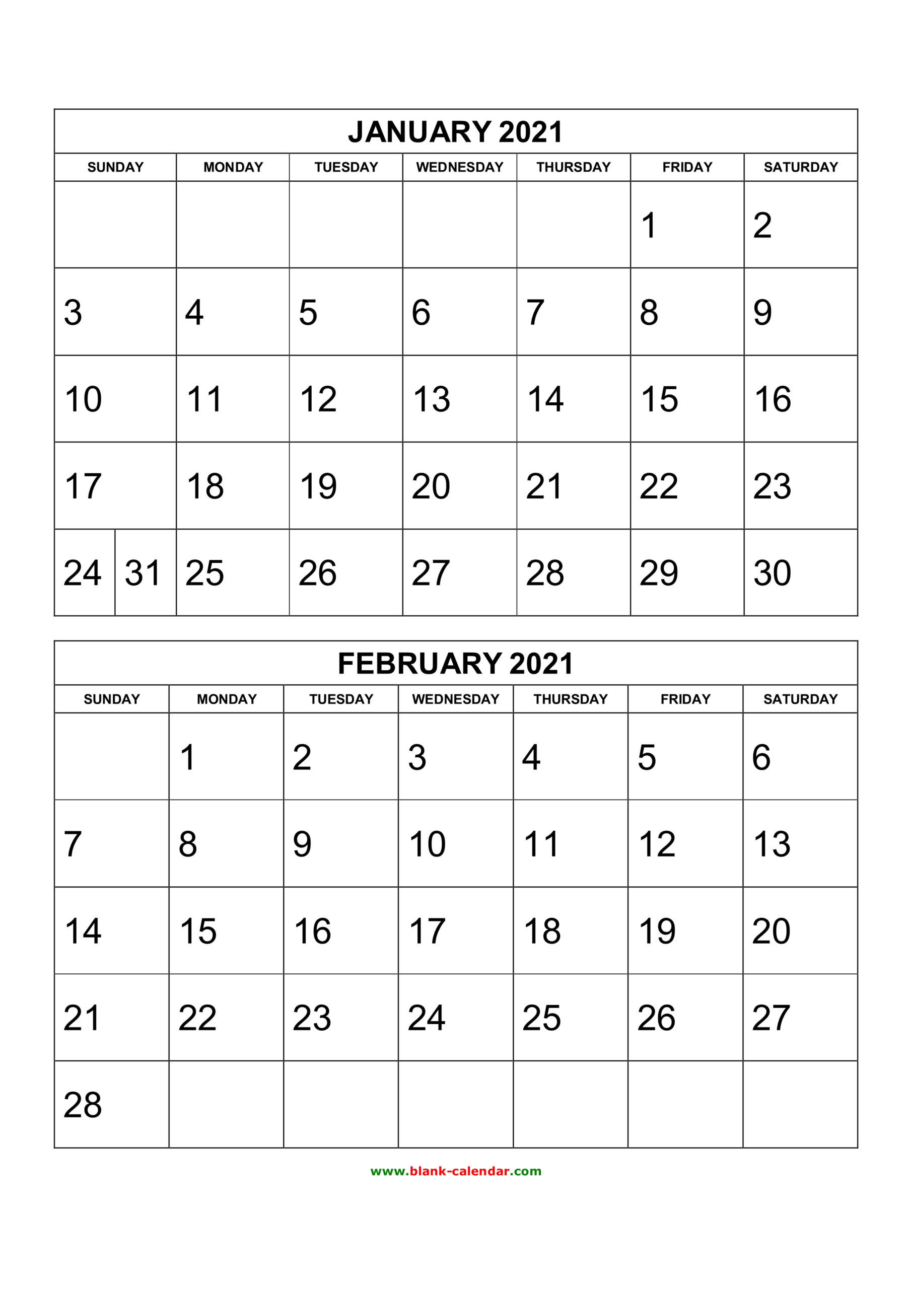 Free Download Printable Calendar 2021, 2 Months Per Page, 6