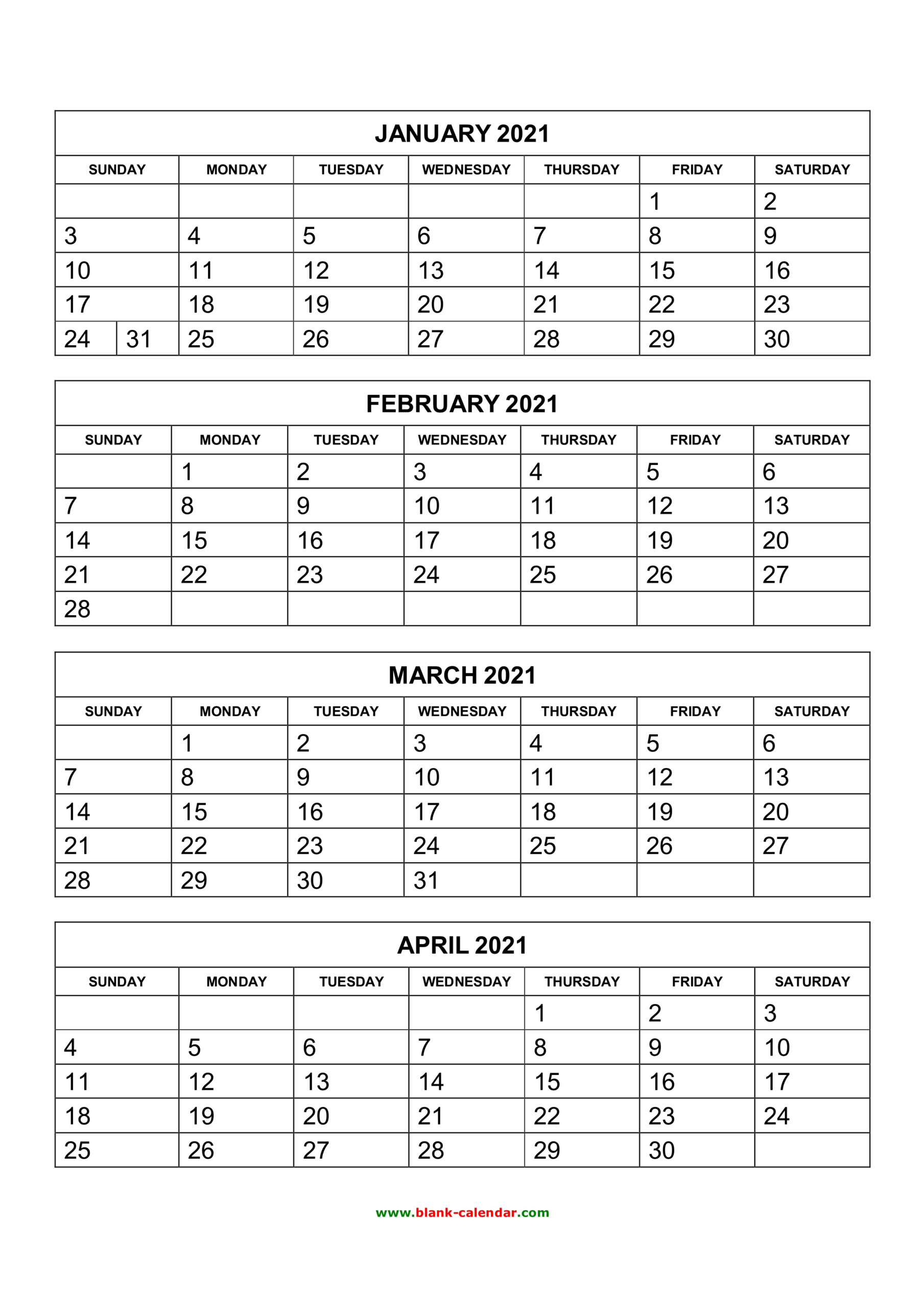 Free Download Printable Calendar 2021, 4 Months Per Page, 3