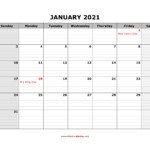 Free Download Printable Calendar 2021, Large Box Grid, Space