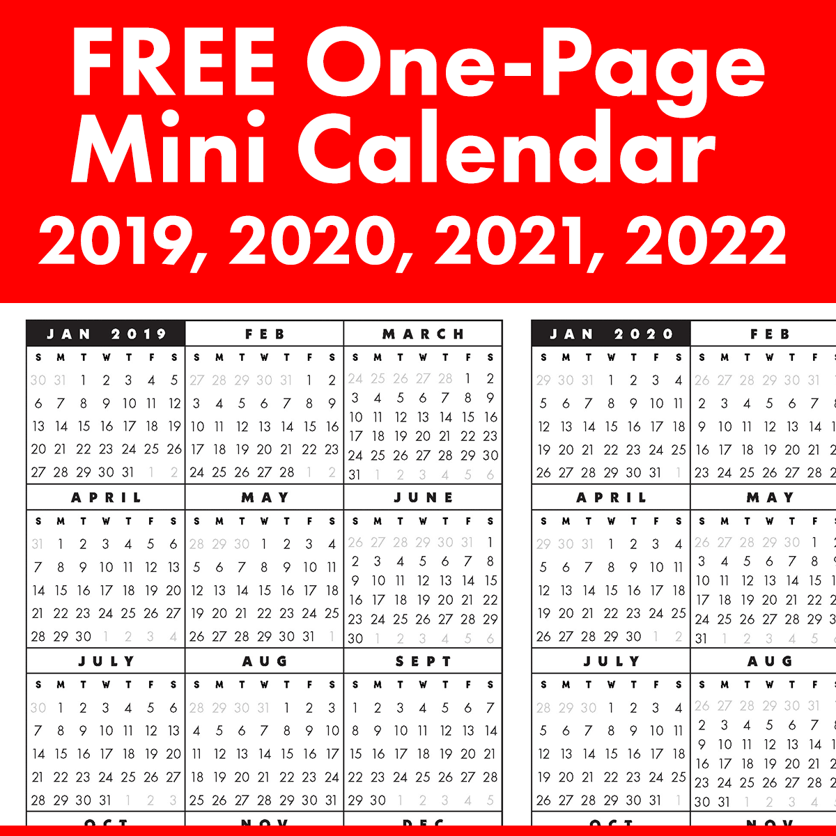Free Full-Year, Single-Page 2019, 2020, 2021, 2022 At A