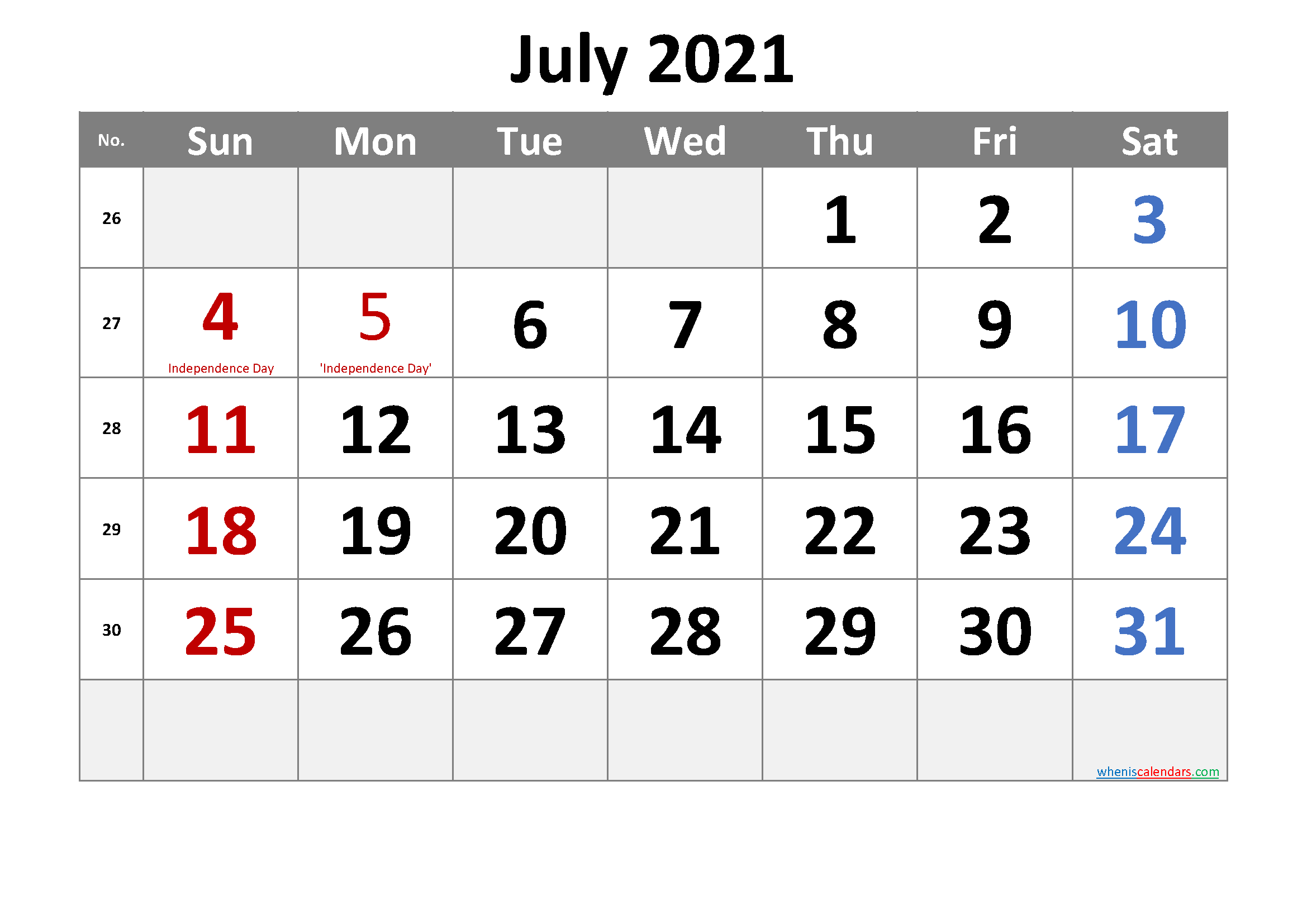 Free July 2021 Monthly Calendar Pdf-Template No.cr21M31