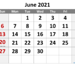 Free June 2021 Monthly Calendar Template Word-Template No