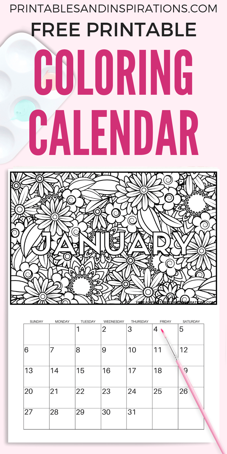 Free Printable 2020 Coloring Calendar Pages - Printables And