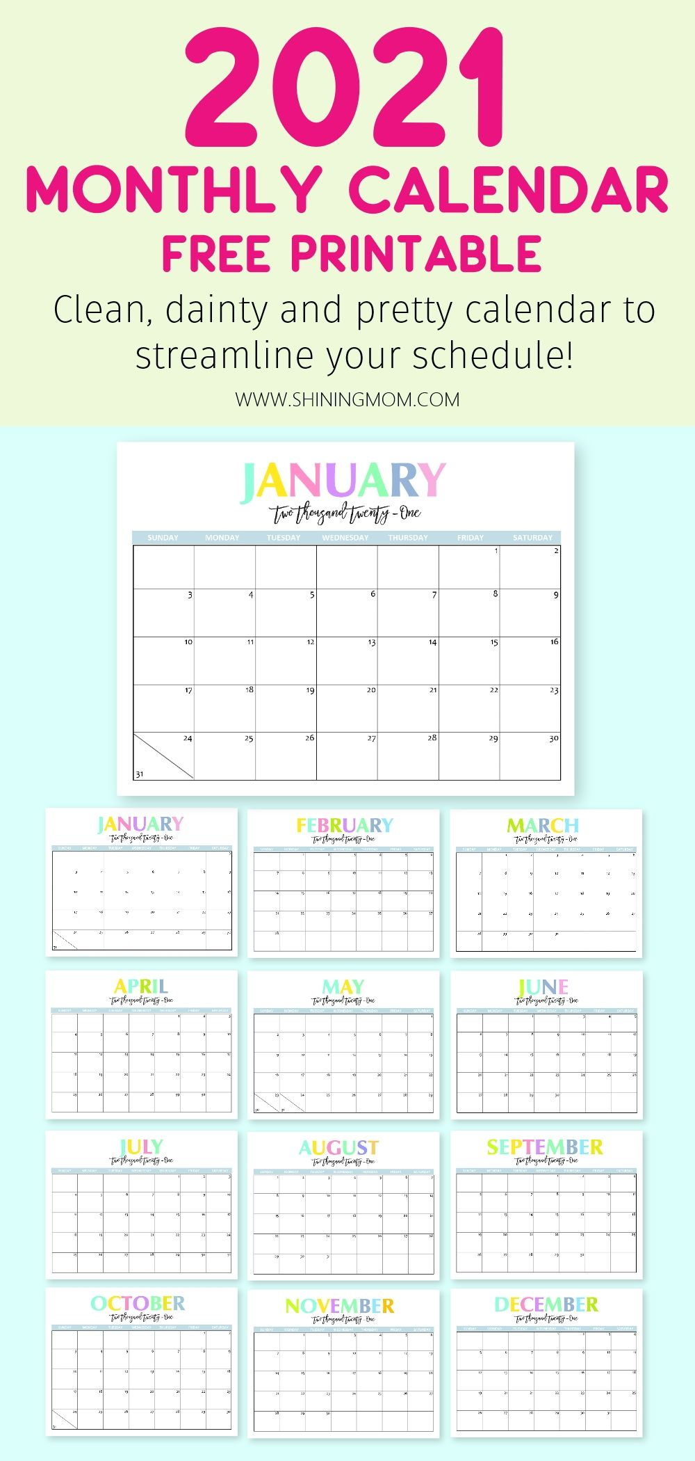 Free Printable 2021 Calendar: So Beautiful And Colorful! In