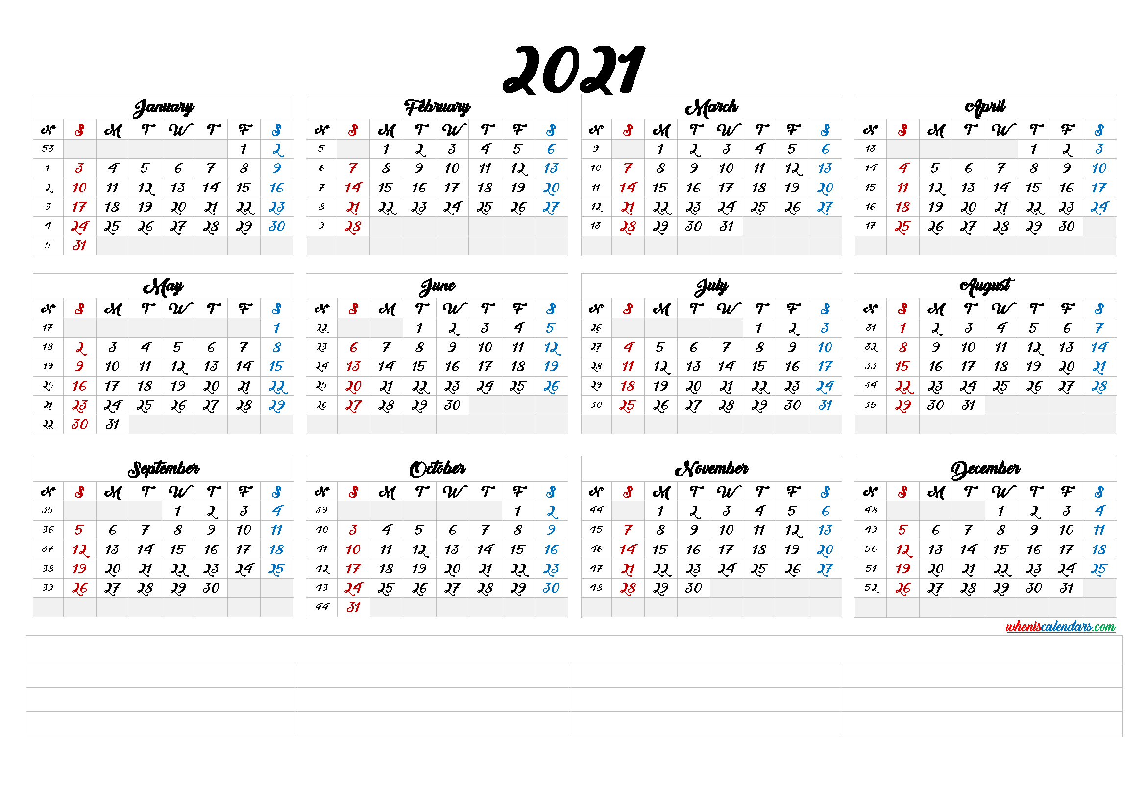 Free Printable 2021 Calendaryear – Calendraex