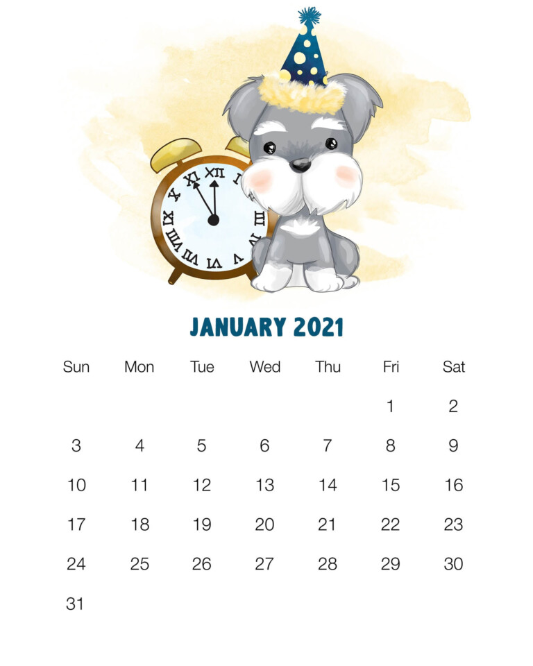 Free Printable 2021 Cute Dog Calendar - The Cottage Market