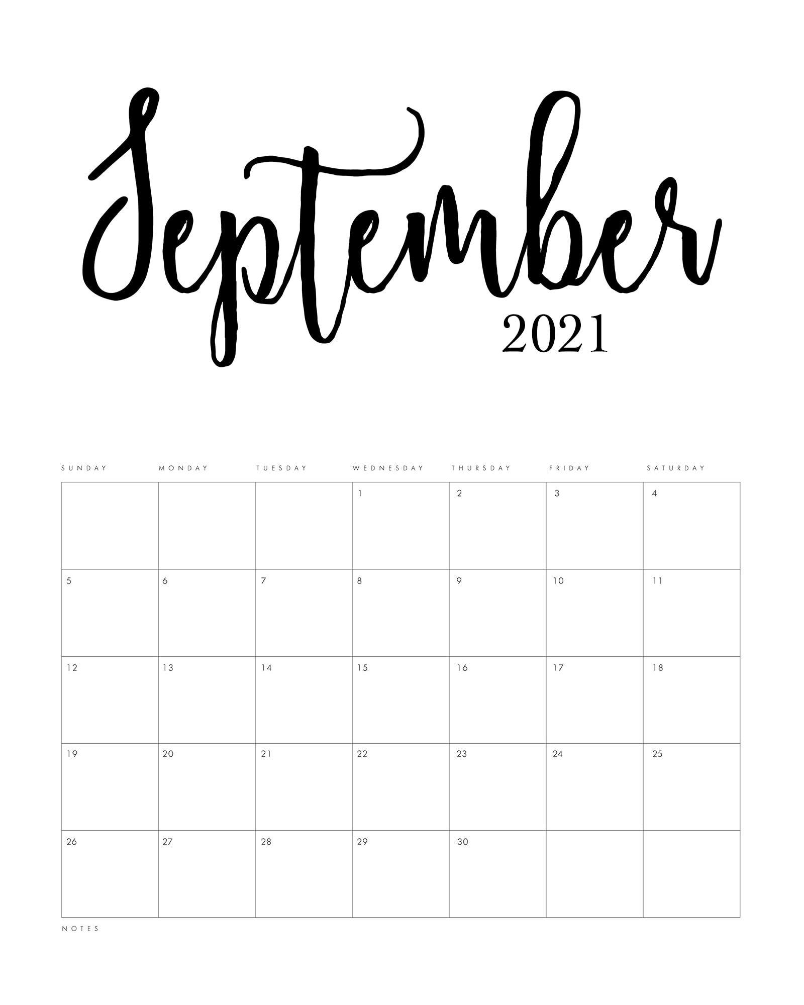 Free Printable 2021 Minimalist Calendar - The Cottage Market