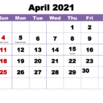 Free Printable 2021 Monthly Calendar With Holidays April