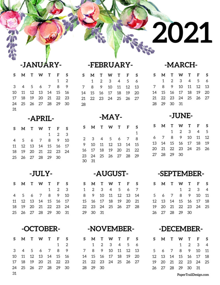 Free Printable 2021 One Page Floral Calendar | Paper Trail