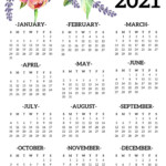 Free Printable 2021 One Page Floral Calendar   Paper Trail