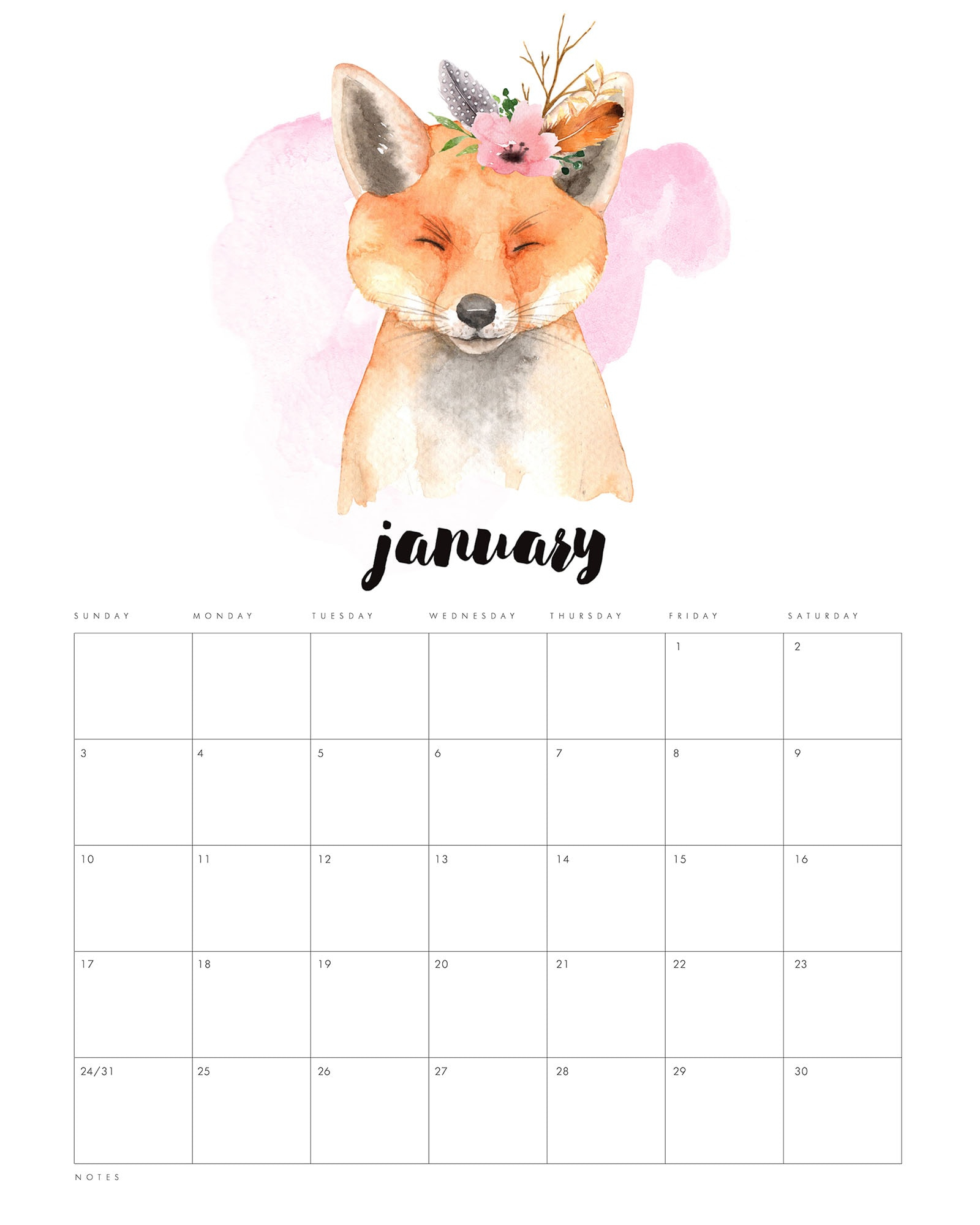 Free Printable 2021 Watercolor Animal Calendar - The Cottage