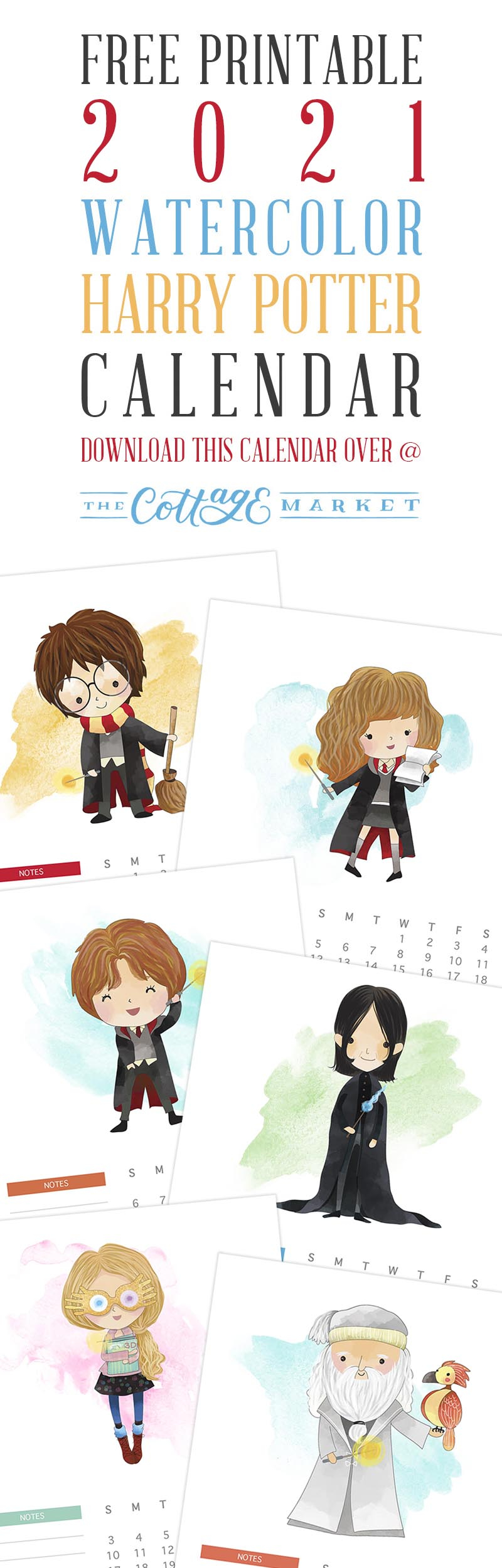 Free Printable 2021 Watercolor Harry Potter Calendar - The