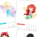 Free Printable 2021 Watercolor Princess Calendar - The