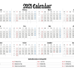 Free Printable 2021 Yearly Calendar 12 Templates