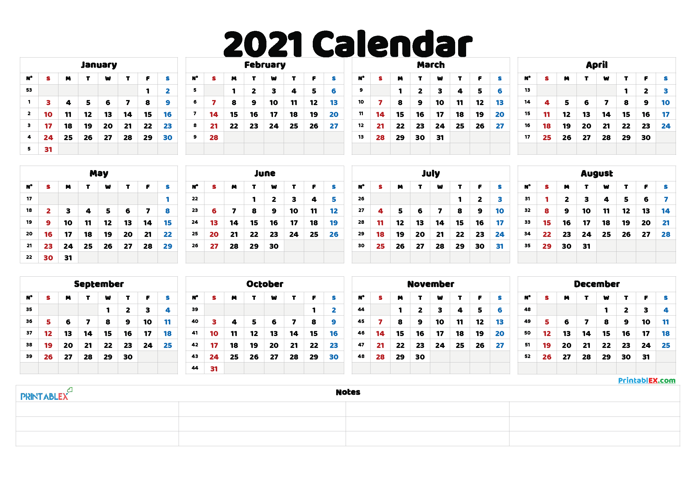 Free Printable 2021 Yearly Calendar – 21Ytw137 In 2020