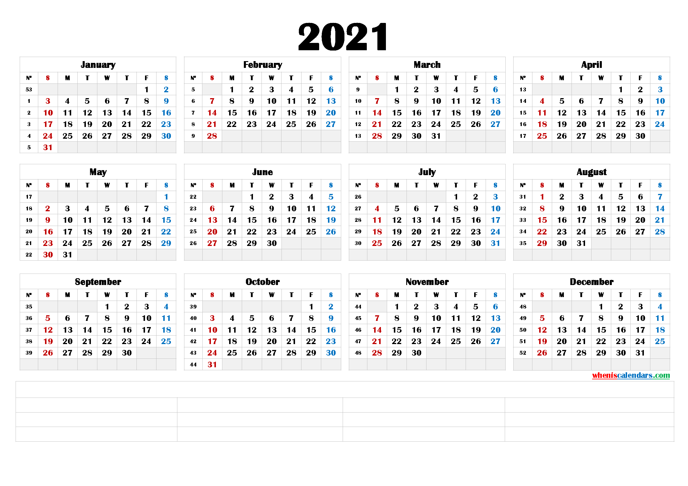 Free Printable 2021 Yearly Calendar (6 Templates) – Free