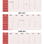 Free Printable April May June 2021 Calendar 3 Months 1 Page