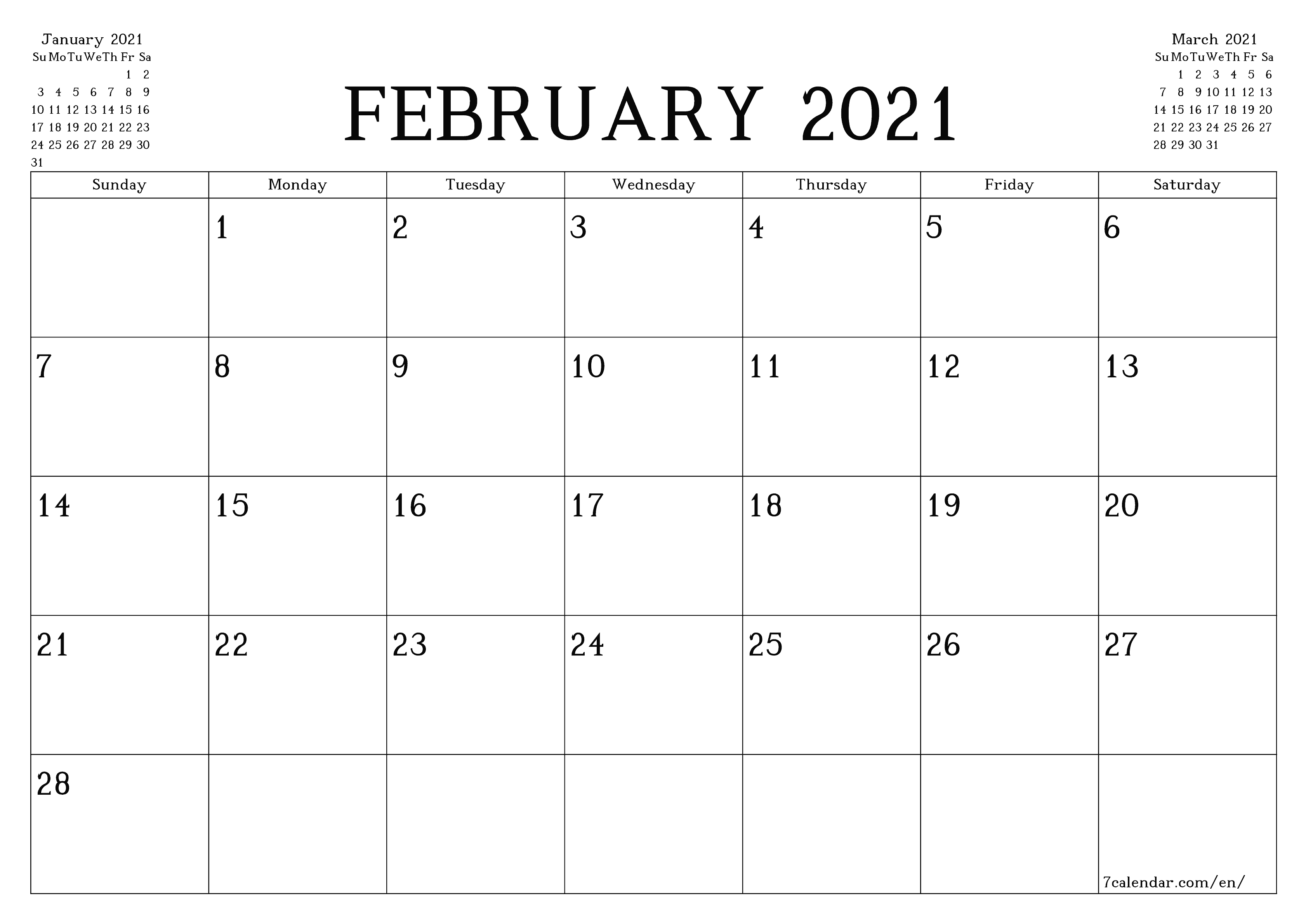 Free Printable Blank Monthly Calendar And Planner For