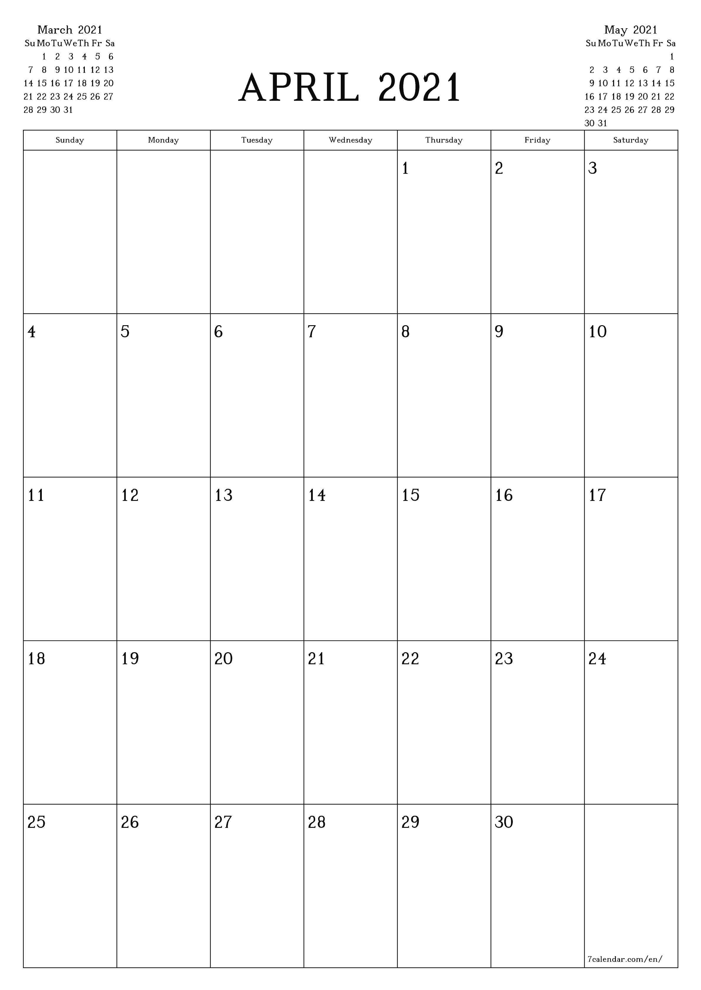 Free Printable Blank Monthly Calendar And Planner For April