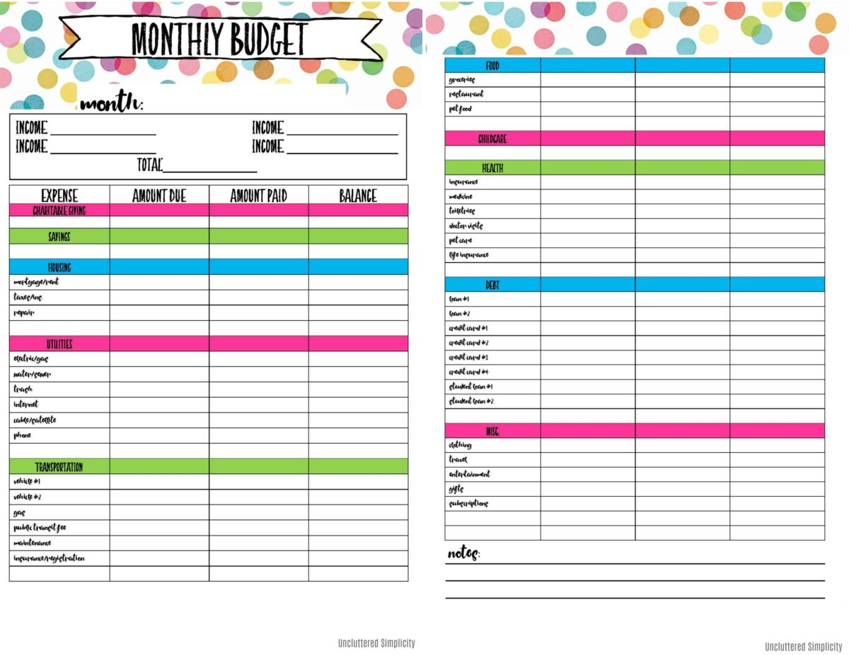 Free Printable Budget Planning Worksheets | Organize & Declutter