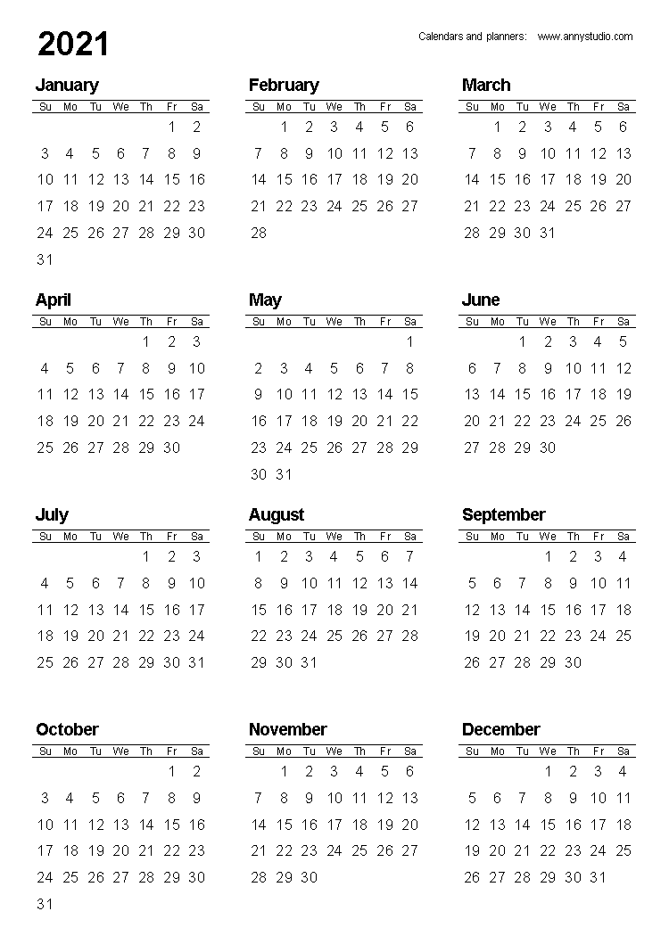 Free Printable Calendars And Planners 2020, 2021, 2022 In