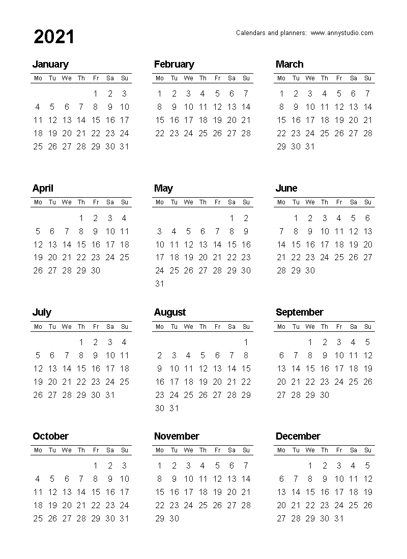 Free Printable Calendars And Planners 2021, 2022 And 2023
