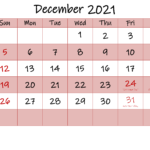 Free Printable Coloring Calendar 2021 December-Template No