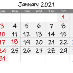 Free Printable Coloring Calendar 2021 January-Template No