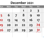 Free Printable December 2021 Calendar With Holidays-Template