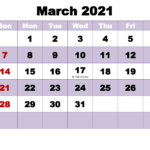 Free Printable March 2021 Calendar Word – Free Printable