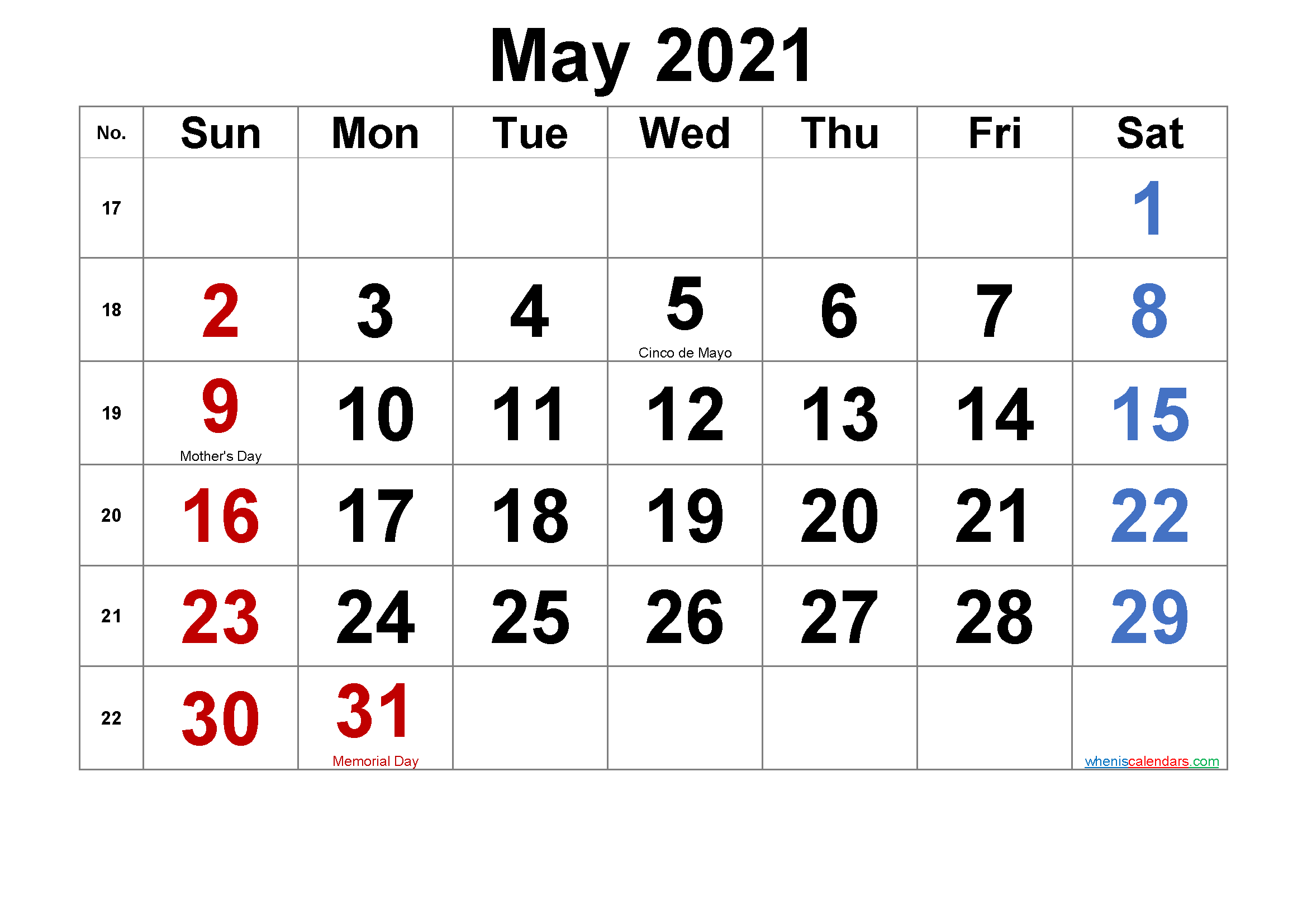 Free Printable May 2021 Calendar With Holidays-Template No