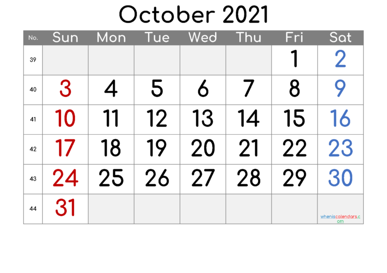Free Printable October 2021 Calendar (Premium) In 2020