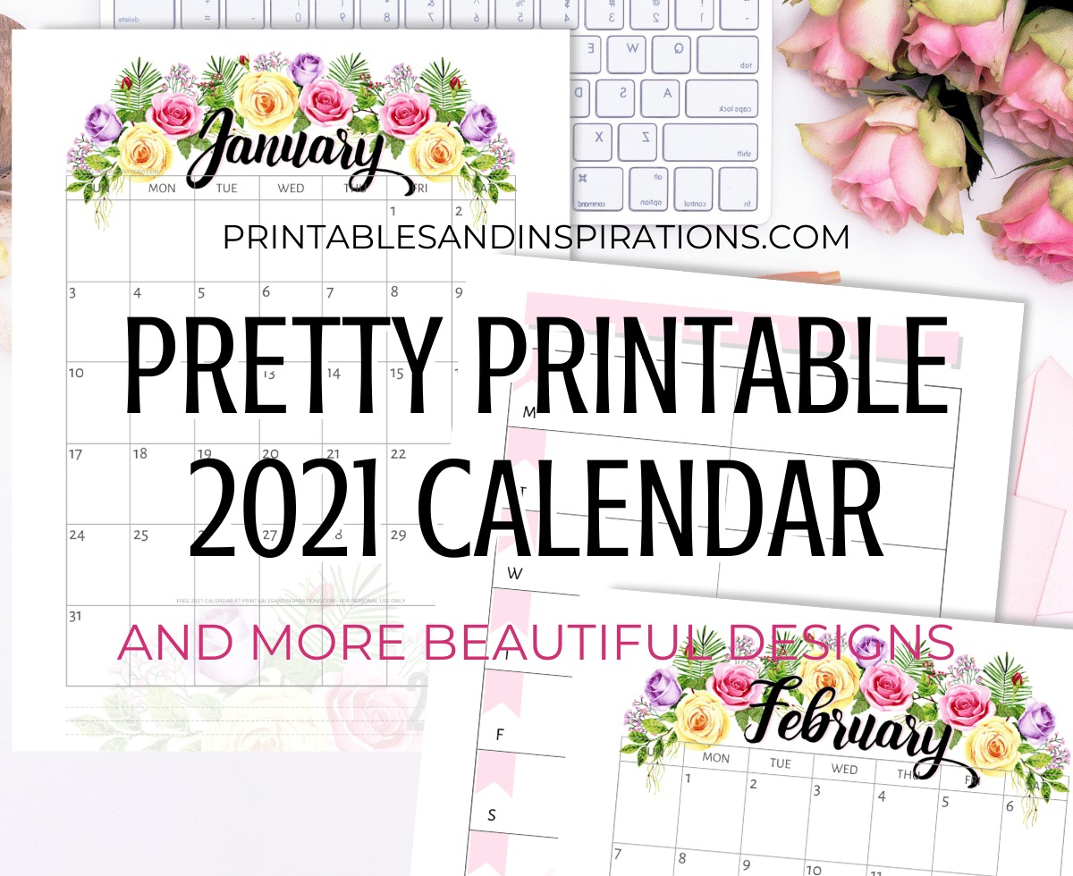 Free Printable Pretty Roses Calendar For 2021 - Printables