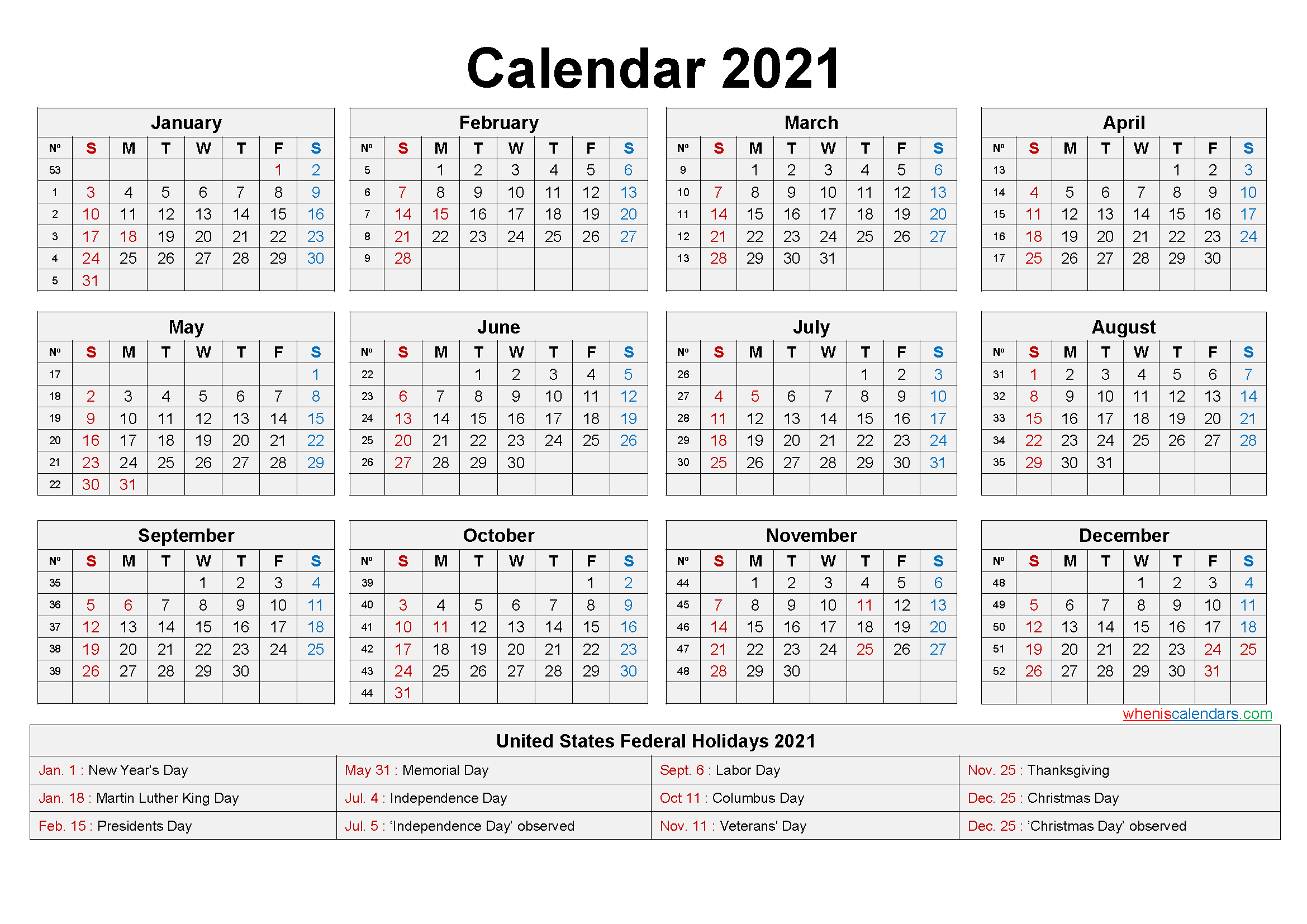 Free Printable Yearly 2021 Calendar With Holidays As Word