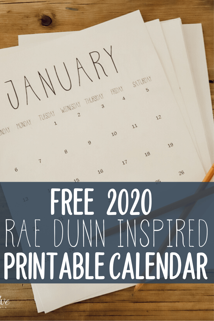 Free Rae Dunn Inspired 2020 Printable Calendar In 2020